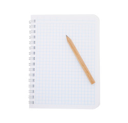 Paper notebook with pencil isolated on white background