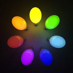 Colorful light bulbs over black background