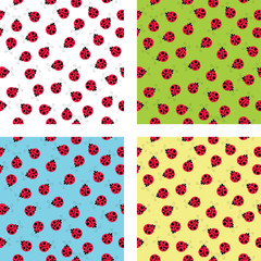 Bright seamless background with ladybugs