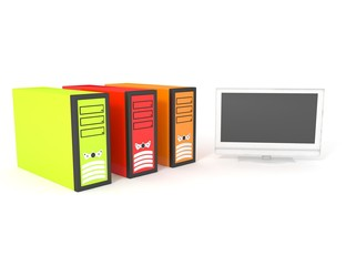 colored computers isolated on a white
