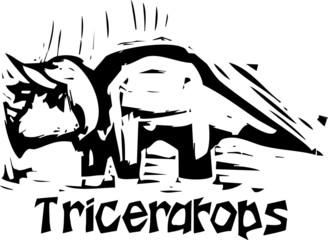 Woodcut Triceratops Dinosaur