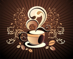 Vector coffee,tea floral background