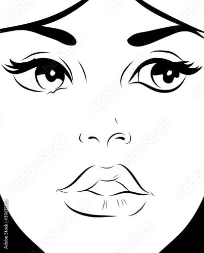 """Dessin Visage Noir Et Blanc croquis noir et blanc visage femme gros plan"""" stock photo and"""