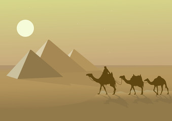vector illustration with egypr pyramid and camels