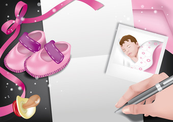 biglietto auguri nascita rosa