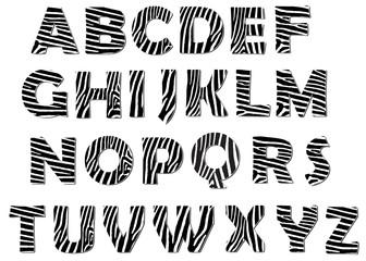 Zebra alphabet vector pack