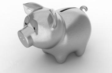 Wealth: Silver piggy bank over white