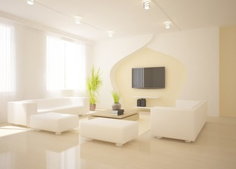white interior design with furniture