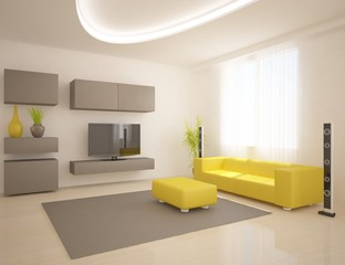 modern interior with furniture