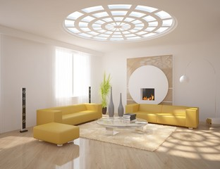 white interior design with fire