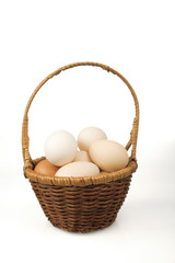 Eggs in a small basket on a white background