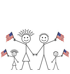Family celebrating an event waving American flags