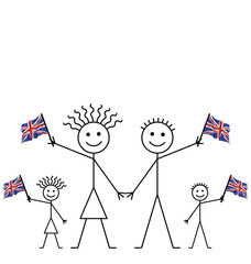 Family celebrating an event waving Union Jack flags