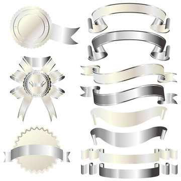 set of silver and white ribbon