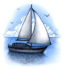 Illustration of sailing boat