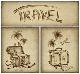 Set of travel illustration