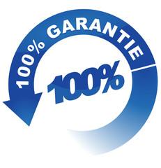 100 pour 100 garantie sur vignette fléchée bleue