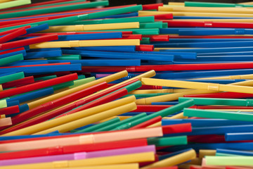 A large group of colored  plastic straw