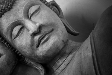 Face of budda statue, Black and white