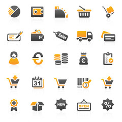 orange finance hotel icons - set 4