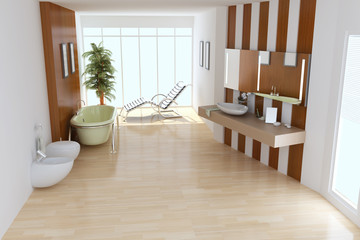 The 3d rendering indoor toilet