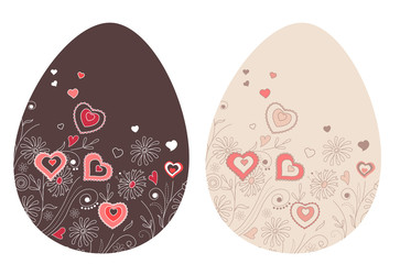 Two pretty spring easter eggs with hearts