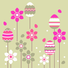 Growing pink easter eggs and stylized flowers