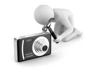 Man repairs compact digital camera. Isolated 3D image on white