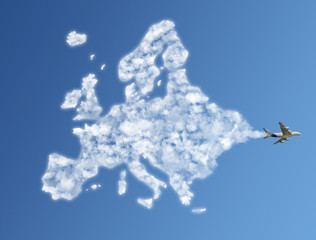 Wall Mural - Travel the world clouds concept: Europe