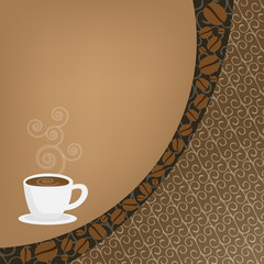 Abstract background with cup of coffee and seeds