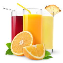 Isolated fruit juices. Three glasses of orange, pineapple and cherry juice and cut orange fruit isolated on white background