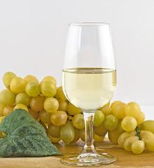 vino bianco in calice con uva
