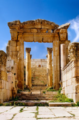 Ancient arch of Artemis Temple in Jerash, Jordan