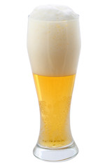 Beer with the foam on a white