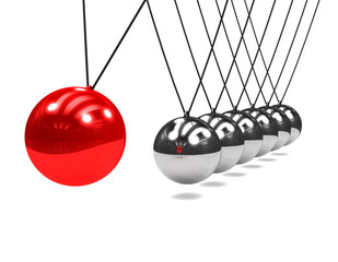3d Newtons cradle red ball close up