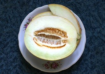 melon on a plate