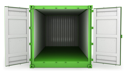 Opened green freight, front view