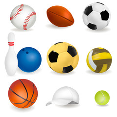 Big set of sport balls and tennis cap. Vector illustration.