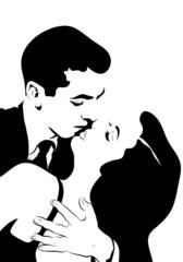 croquis noir et blanc couple homme et femme enlacé amoureux