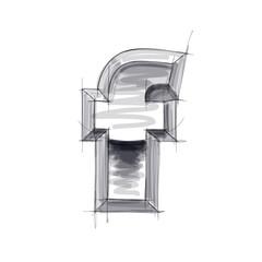 3d metal letters sketch - f. Eps10