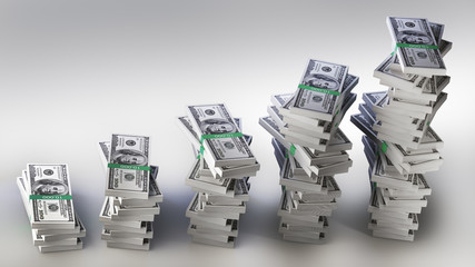 Many big packs of dollars over white sacking 3d