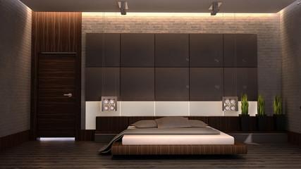 modern bedroom with brown bedl 3d
