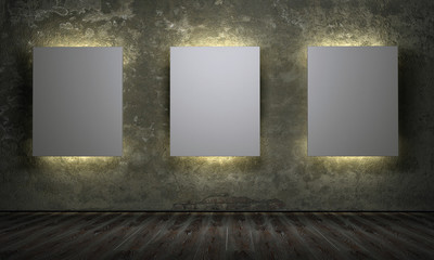 Three empty board in room with grunge walls 3d render