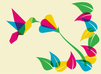 Poster Geometric animals Spring time humming bird and flower