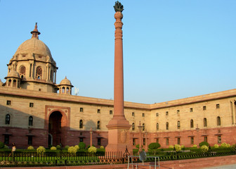 Indian Parliament building in New Delhi, India