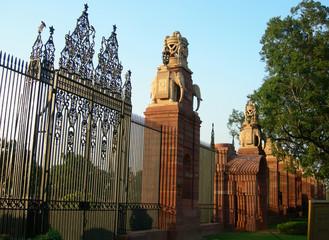 Indian Parliament building gates in New Delhi, India