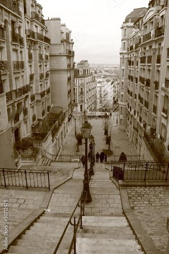 Fototapete Escalier de Montmartre, Paris, France