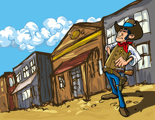 Poster Ouest sauvage Cartoon cowboy in a western old west town