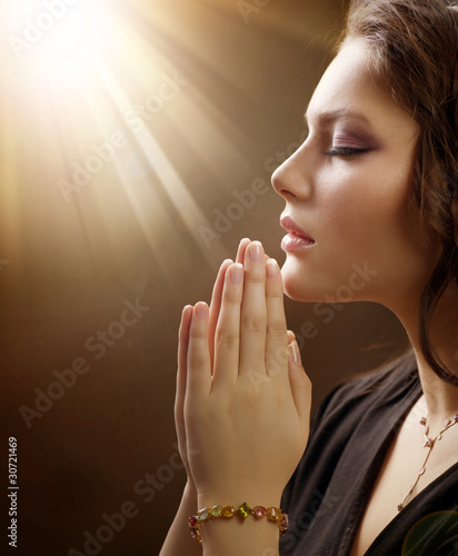 Portrait Of A Girl Praying Stock Photo And Royalty Free Images On
