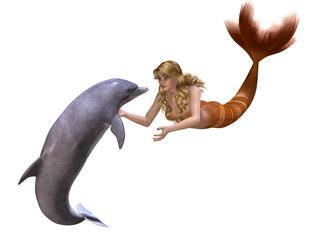 Photo sur Aluminium Mermaid Dolphin And Mermaid - 3D render
